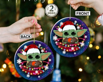 Cleveland Browns Christmas Ceramic Ornament, Baby Yoda Cleveland Browns Ornament, Baby Yoda Nfl Gifts, Cleveland Browns Hanging Decor