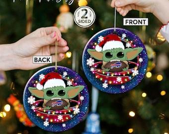 Buffalo Bills Christmas Ceramic Ornament, Baby Yoda Buffalo Bills Ornament, Baby Yoda Nfl Gifts, Buffalo Bills Hanging Decor