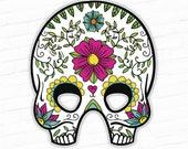 Day of the Dead, Halloween Mask, Mexican Sugar Skull Printable Mask, Día de los Muertos, All Souls Day, Day of the Dead Mask, Skull Mask