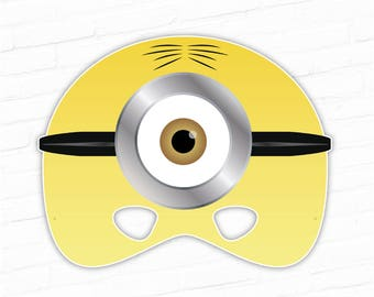 Minion mask etsy halloween mask paper masks printable mask minion mask one eyed minions cartoon character movie mask for kids parties photo booth maxwellsz