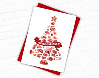 Unique holiday cards etsy printable unique holiday cards creative christmas cards food christmas card seasons meatings paleo carnivore primal food christmas tree m4hsunfo