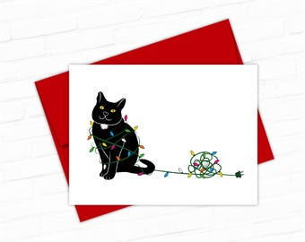 black cat christmas cards