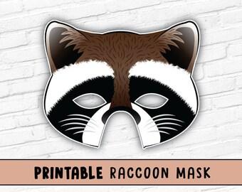 Raccoon Printable Party Mask Halloween PDF