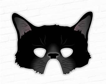 Black Cat Printable Mask Halloween Witches Animal Kitty Kitten Paper Costume For Kids