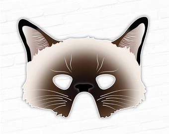 Siamese Cat Printable Mask Birman Cat Mask Printable Halloween Mask Flame Point Cat Mask Kitty Cat Costume Printable Animal Mask Chat  sc 1 st  Etsy & Orange Tabby Cat Mask Printable Cat Mask Kitty Kitten
