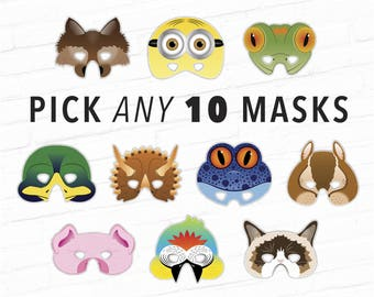 theater mask halloween masks photo booth props printable masks kids costume pick 10 masks and save money character mask animal mask