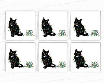 Cat Gift Tags Black Cats Printable Christmas Gift Tags Xmas Etsy