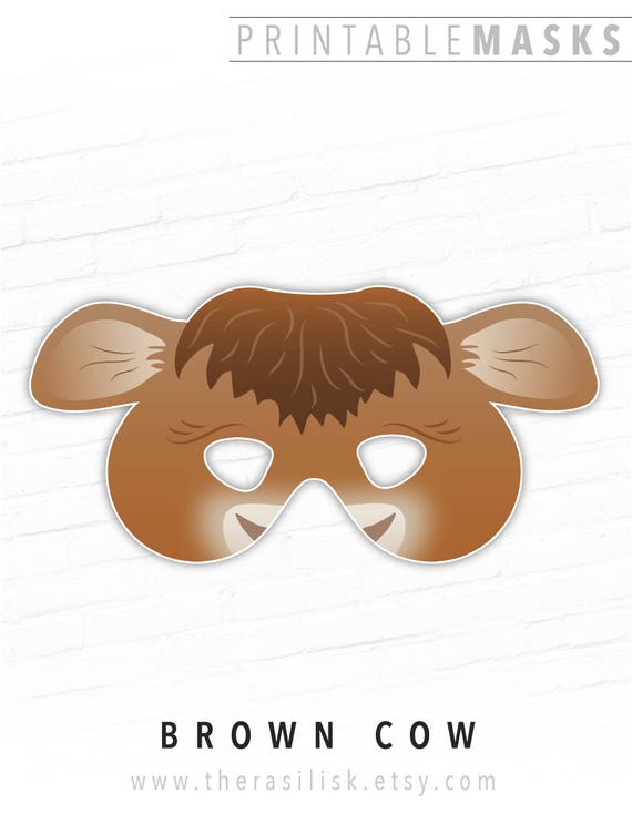 picture regarding Cow Costume Printable identified as Printable Cow Mask, Brown Cow Gown, Printable Nativity Mask, Farm Animal, Cow, Heifer, Animal Mask, Halloween Mask, Nativity Fixed Dress