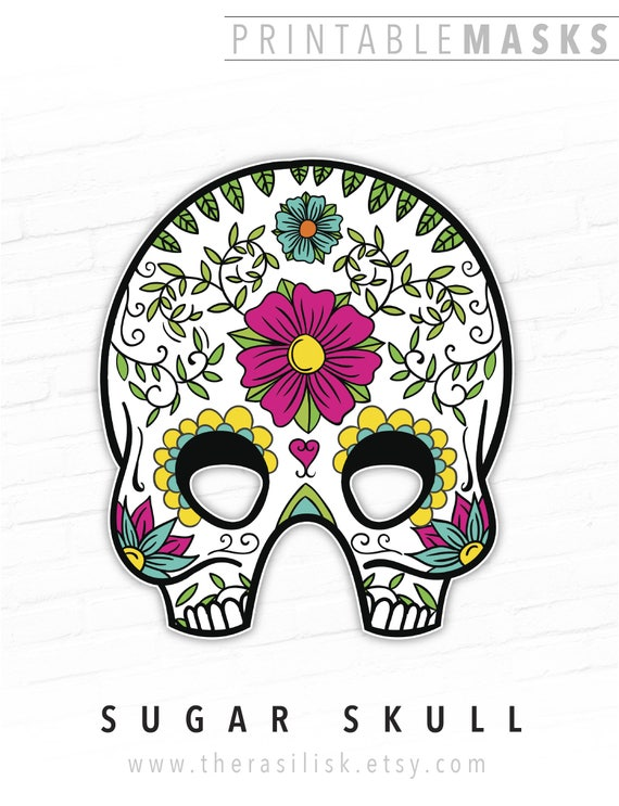 day of the dead halloween mask mexican sugar skull printable etsy