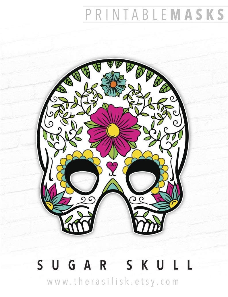 photo about Skull Printable called Working day of the Lifeless, Halloween Mask, Mexican Sugar Skull Printable Mask, Día de los Muertos, All Souls Working day, Working day of the Useless Mask, Skull Mask