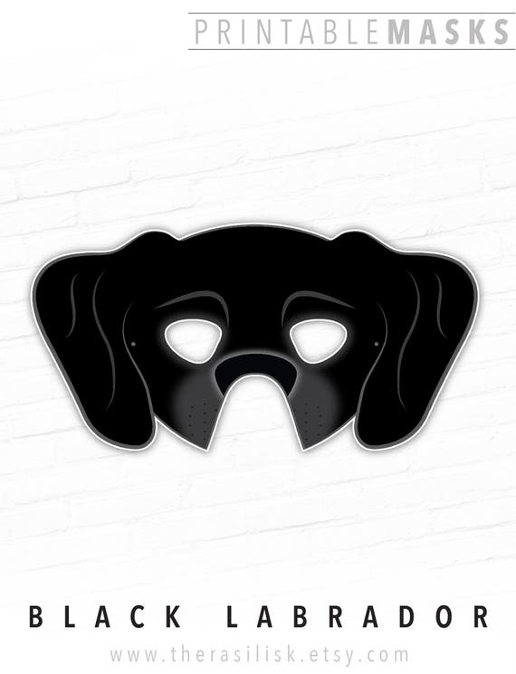 Black Labrador Great Dane Printable Dog Mask Black Lab Hound
