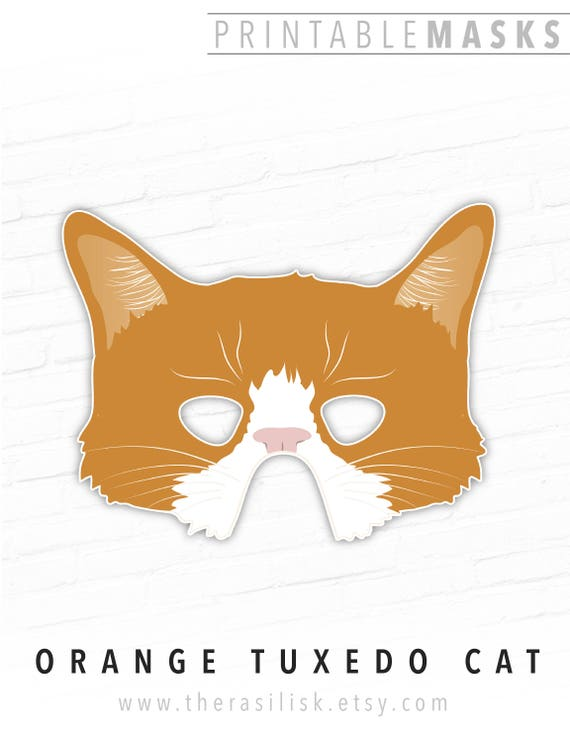 photo about Cat Mask Printable known as Printable Animal Mask, Orange Tuxedo Cat, Printable Cat Mask, Orange Cat, Kitty, Cat Dress, Printable Halloween Mask, Photograph Booth Props