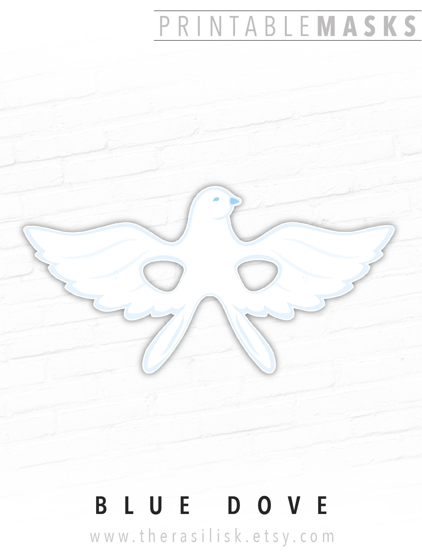 Blue Dove Printable Mask, Dove Mask, Nativity Set Masks, Pigeon, White  Dove, Bird Mask, Dove of Peace, Easter Dove, Christmas, Photo Prop