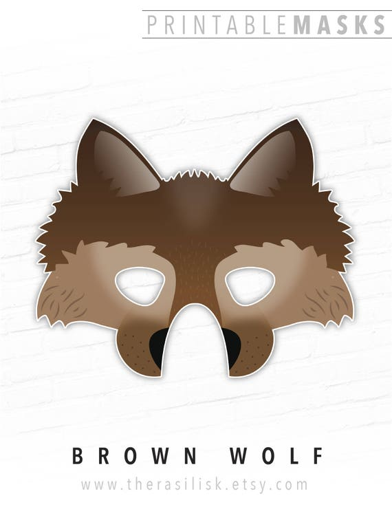 graphic regarding Printable Wolf Masks referred to as Printable Halloween Mask, Wolf Mask, Brown, Animal Mask, Dire Wolf Mask, Brown Wolf, Picture Booth Props, Direwolf, Tiny Crimson Using Hood