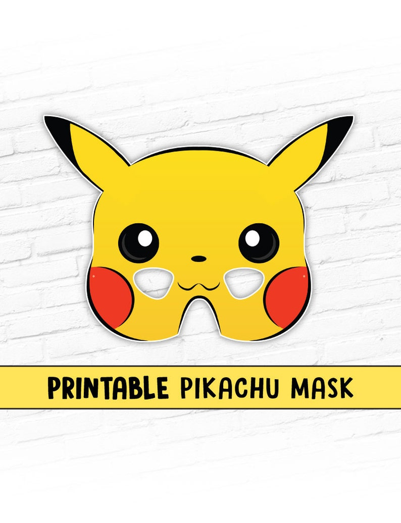 Printable Pikachu Mask Pokemon Mask Cartoon Character Mask Etsy