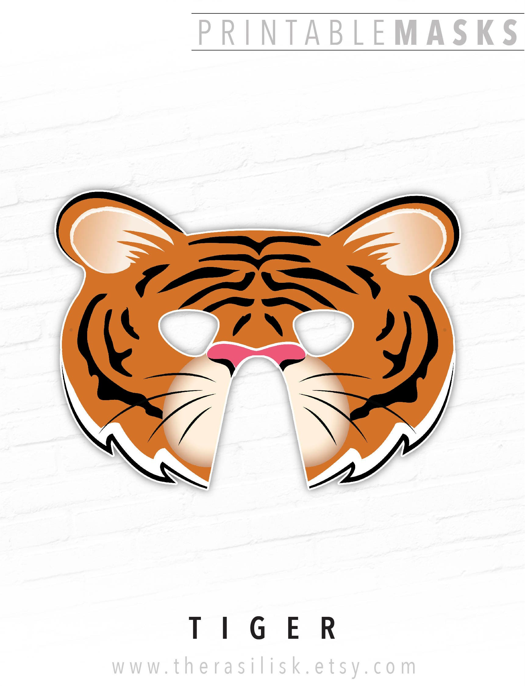 This is a graphic of Smart Tiger Mask Printable