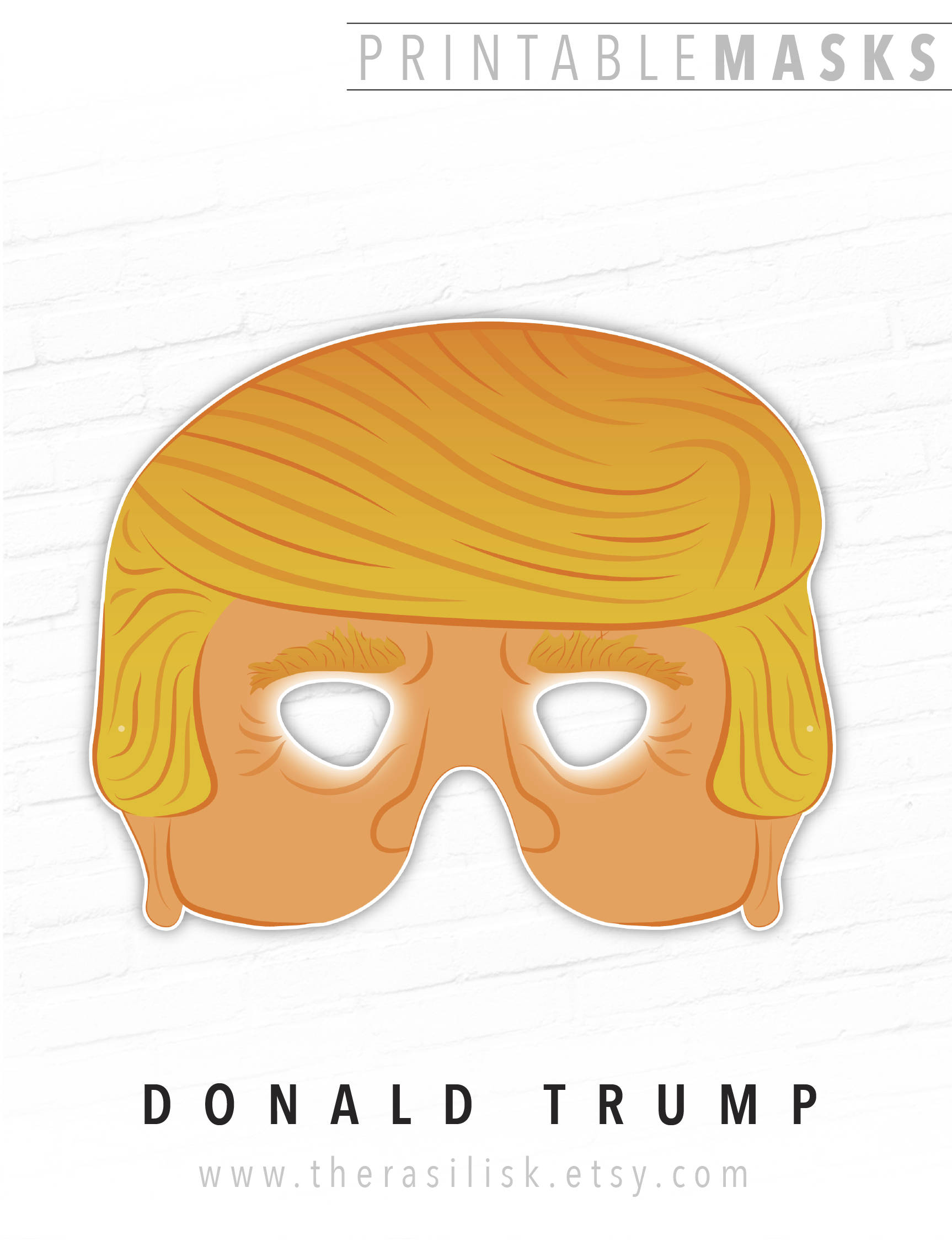 photo about Donald Trump Mask Printable named Donald Trump Printable Halloween Mask, Printable President of the United Claims Mask, Trump Mask, Paper Mask, Intimidating Masks, Orange, Dress