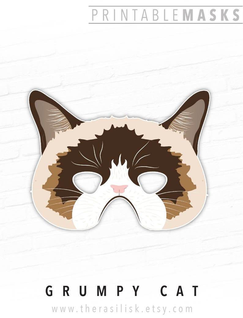 Ragdoll Cat Printable Mask Photo Booth Prop Frowning Cat  073df5095a2d
