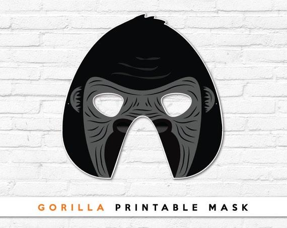 Gorilla Printable Mask Primate King Kong Donkey