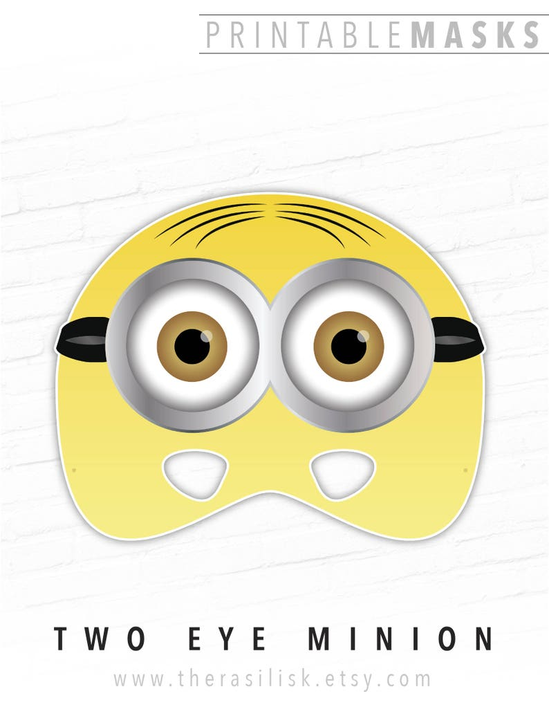 photograph regarding Minion Eye Printable named Halloween Mask, Paper Masks, Printable Mask, Minion Mask, 2 Eye Minion, Video Mask, For Young children, Cartoon, Yellow, Events, Photograph Booth, Children