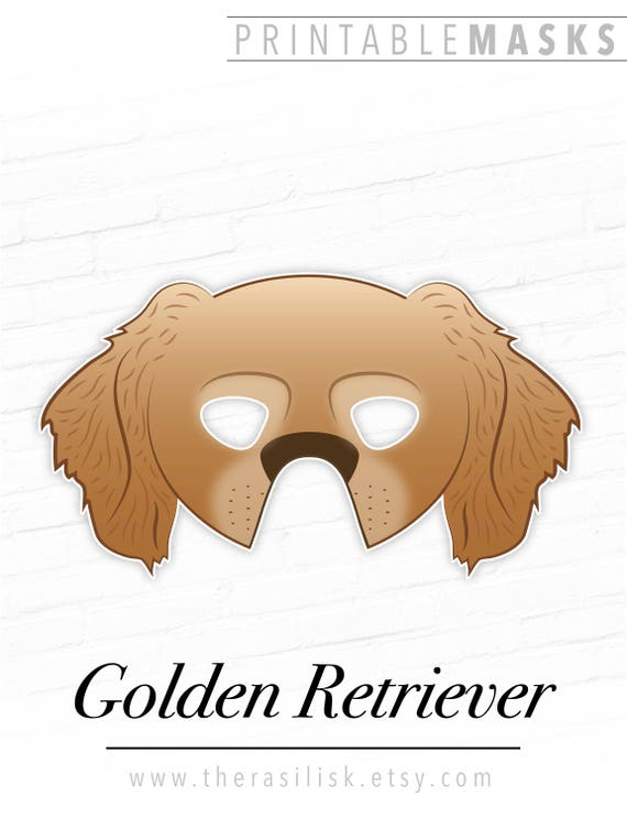photograph about Dog Mask Printable titled Golden Retriever Printable Pet dog Mask, Cocker Spaniel Mask, Printable Animal Masks, Halloween Mask, Picture Booth Props, Printable Gown Prop