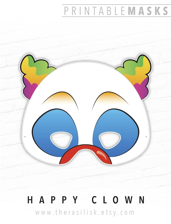 Halloween Mask Clown Printable Mask Happy Clown Circus | Etsy