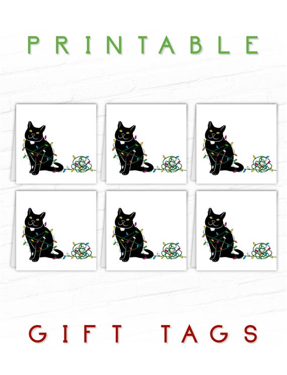 Cat Gift Tags Black Cat Holiday Gift Tags Printable Etsy