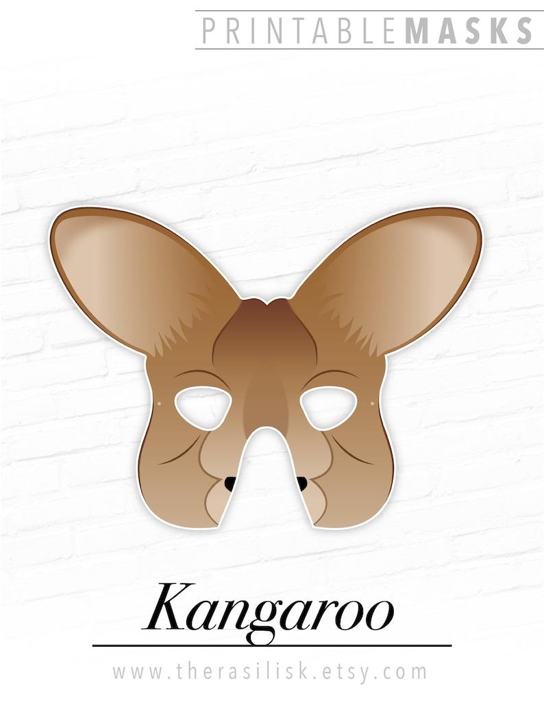 photograph about Kangaroo Printable titled Printable Kangaroo Mask Young children Animal Dress Cosplay Australian Marsupial Playtime Halloween Social gathering Fake Perform Adorable Pets Photograph Booth