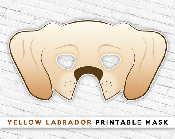 Yellow Labrador Mask Tan Dog Mask Printable Halloween Mask   Etsy