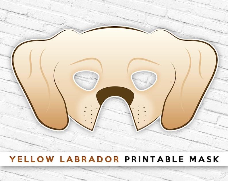 photo regarding Printable Dog Masks identify Yellow Labrador Mask Tan Puppy Mask Printable Halloween Mask