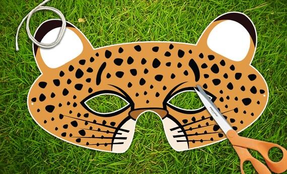 cheetah printable pdf childrens party mask halloween mask