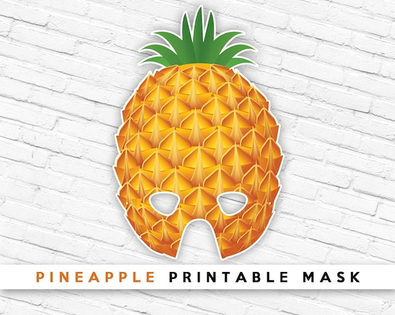 Pineapple Printable Party Mask Tropical Fruit Mask Etsy