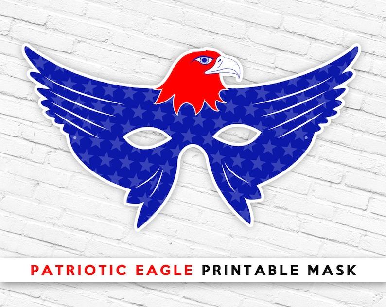 Red White Blue Eagle Mask Ultra Patriotic Usa Bird Mask Etsy
