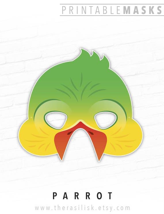 Parrot Mask Tropical Bird Printable Mask Macaw Mask Bird Etsy