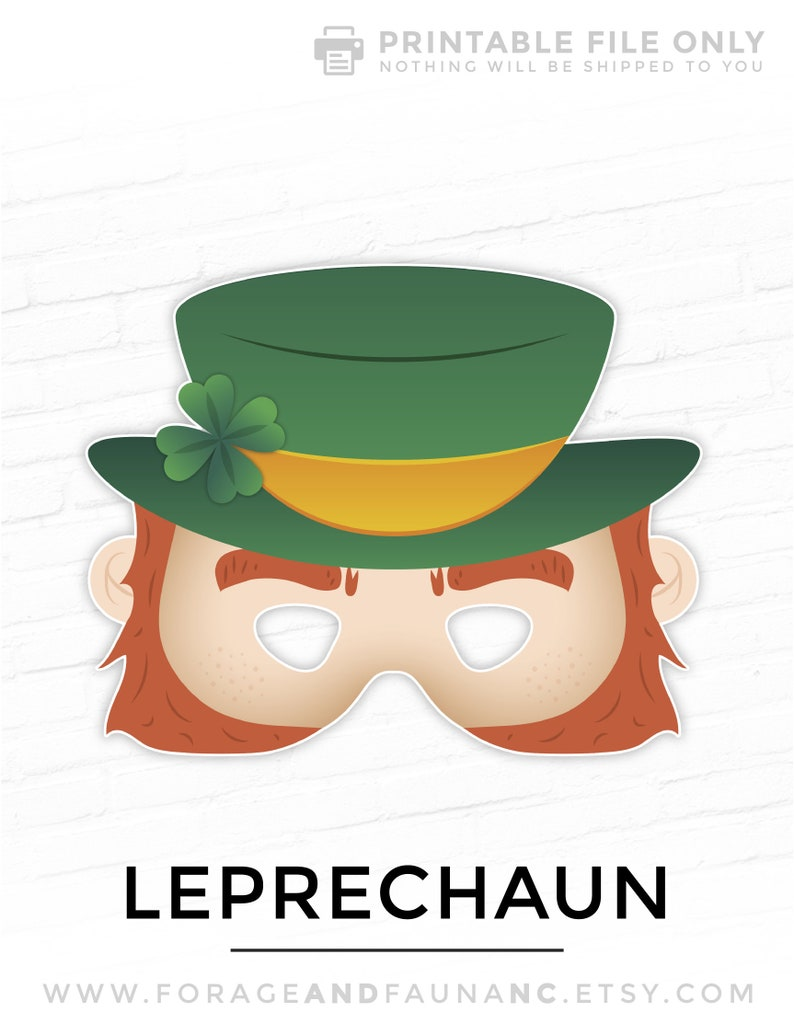 Leprechaun St Patty S Day Mask Printable Mask St Patricks Etsy