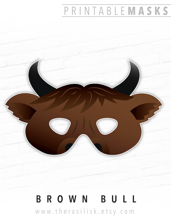 image about Printable Cow Costume known as Halloween Mask, Printable Mask, Brown Bull Mask, Ox, Cow, Animal Masks, Paper Mask, Dress, For Children, Brown, Fairy Story, Picture Booth Prop