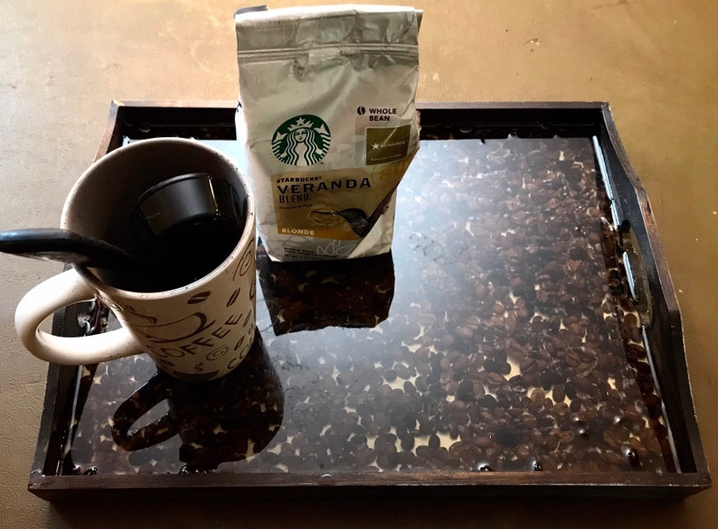 Resin art tray wood serving tray coffee tray coffee gift image 0