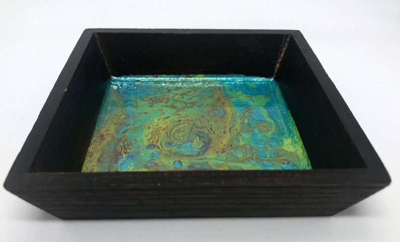 Pour painted resin trinket tray resin serving tray pour image 0