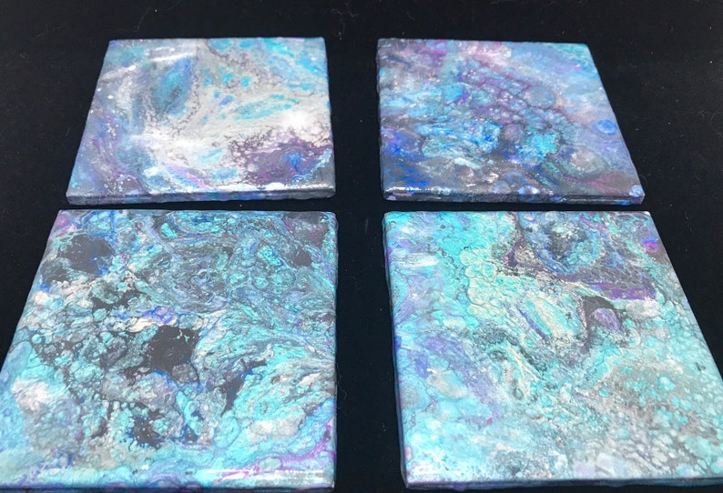Pour painted resin coasters ceramic tile coasters epoxy image 0