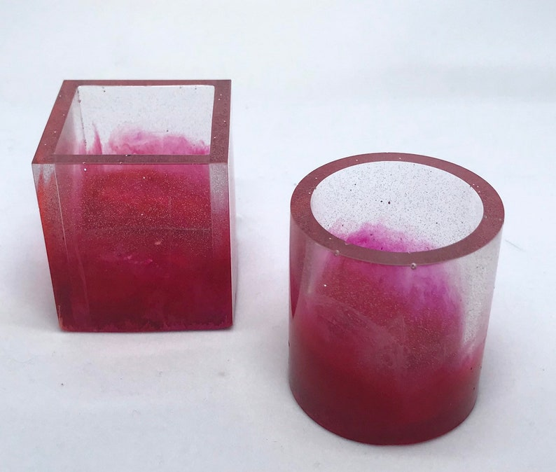 Resin shot glasses small resin cups taper candle holder image 0
