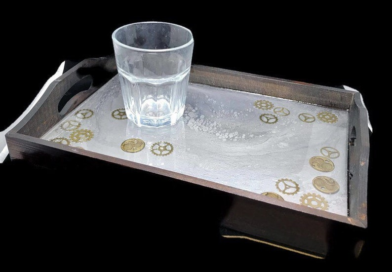 Resin art tray streampunk decor wood serving tray dining image 0