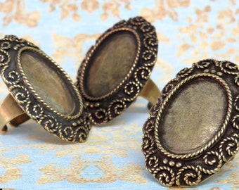 6 Brass Bronze Ring Blanks setting for 18x25 mm Cabochon, adjustable band, antique gold bronze bezel gemstone setting, Oxidized rustic