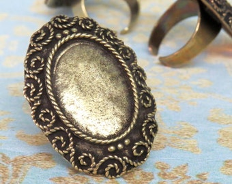 Bronze Brass Ring Blank setting for 18x25 mm Cabochon, adjustable band Oxidized rustic finish, antique gold bronze bezel gemstone setting