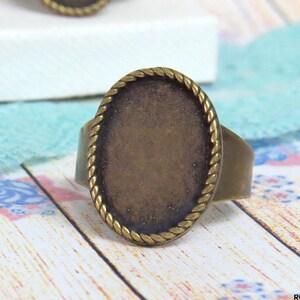 adjustable band Oxidized rustic finish antique gold bronze bezel gemstone setting Bronze Brass Ring Blank setting for 18x25 mm Cabochon