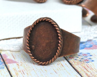 Oval Copper Ring Blank for 10 by 14 mm setting, Oval bezel blank base cabochon setting, rustic copper adjustable wide band