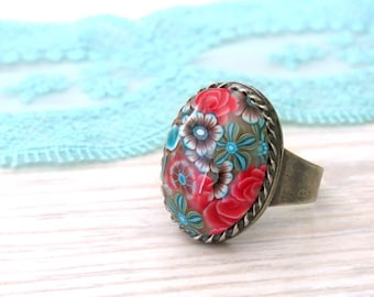Red Blue & Brown floral oval ring, Polymer clay ring, Silver rings for women handmade, Cameo Ring, Sterling Silver plated ring, Gift for her