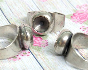 6 Round Silver Cup Ring Blanks settings for point back SS39 crystal 8mm cabochon, Sterling Silver plated, Adjustable wide band, rustic boho
