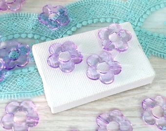 12 Purple acrylic flower beads size 20 mm, daisy flower beads, transparent beads, Lucite flower beads for DIY craft & Jewelry projects