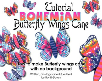 Bohemian Butterfly Wings Cane Tutorial eBook, Polymer Clay Cane tutorial, Butterfly Wings cane How to PDF instructions by Ronit Golan