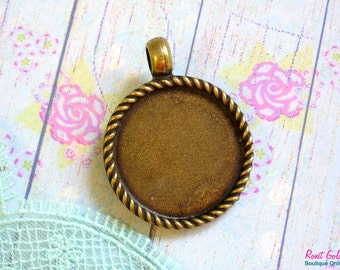 Round pendant blank setting for 25x25 mm 1 inch cabochon, Antique gold bronze plated base bezel tray pendant with roped frame, rustic Boho